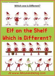 elf on the shelf which one is different christmas printable