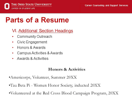 Resume Activities Section Resume Writing Career Counseling And Support Services Ppt Video