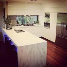Corian Kitchen Benchtops Corian Colour Cameo White Application Benchtop Waterfall End