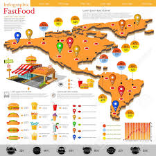 Map Of Americas Fast Food Infographic Map Of America And Mexico With Different