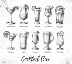 cosmopolitan drink drawing vintage grunge cocktail bar menu sketch art u2014 stock vector