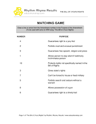 Bill Of Rights Worksheet Answers Bill Of Your Rights Song With Free Worksheets And Activities