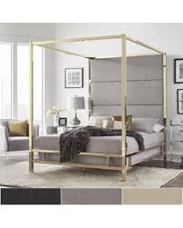 Gold Canopy Bed Spectacular Deal On Evie Gold Metal Canopy Bed With Linen Panel