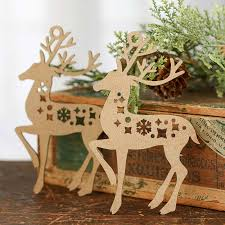 unfinished wood laser cut reindeer cutouts ornaments