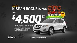 nissan rogue new model dog days of summer at davidson nissan buy a new nissan rogue and