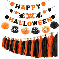 hpydiy orange u0026black happy halloween banner tissue paper tassel