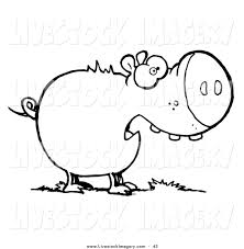 clip art of a coloring page outline design of a chubby pig eating