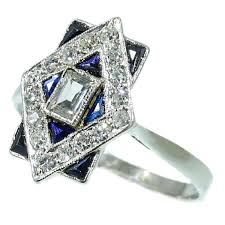 most charming estate art deco engagement ring with diamonds and