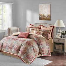 10 Pc Comforter Set Norton Red 10 Piece Comforter Set King