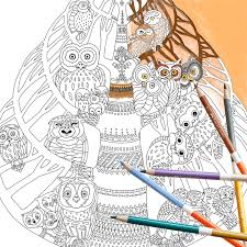 coloring page instant download owl tree coloring page