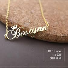 gold necklace with name in cursive gorgeous tale stainless steel gold color any cursive crown