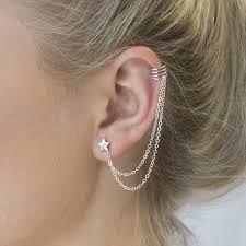 ear cuff sterling silver ear cuff and chain with moon stud by peony