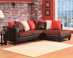 Sectional Sofas Brown Two Toned Brown Chocolate 2 Pc Sectional Sofa