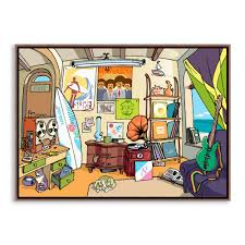 modern cartoon hippie surf beach colorful canvas a4 large art modern cartoon hippie surf beach colorful canvas a4 large art print poster music wall picture bar home decor painting no framed