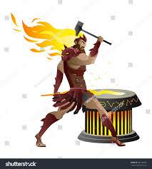 vulcan hephaestus greek roman mythology god stock vector 684168937