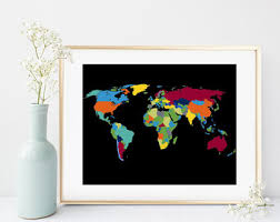 Map Home Decor Colorful Map Etsy