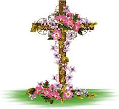 cross with flowers for bo easter and easter