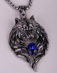 blue stainless steel necklace images Wolf stainless steel necklace for men and women uptodeals jpg