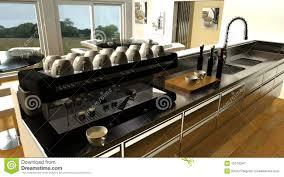 cafe bar interior and espresso machine royalty free stock
