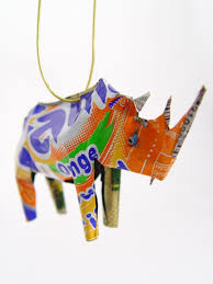 unpainted tin rhino ornament