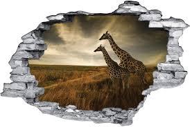 stickers livres trompe l oeil stickers trompe l u0027oeil 3d girafes des prix 50 moins cher qu u0027en