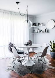 Modern White Dining Room Modern White And Grey Dining Room Area With Round White Table And