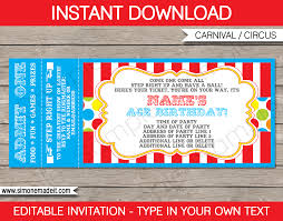 carnival party ticket invitation template carnival or circus