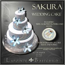 second life marketplace sculpted cake u201csakura u201d round 3 tier cake