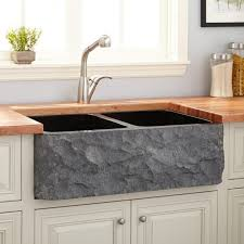 Polished Granite DoubleBowl Farmhouse Sink Chiseled Apron - Black granite kitchen sinks