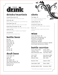 editable menu templates drink menu template