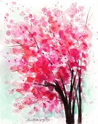 8x10 original watercolor cherry tree painting pink tree
