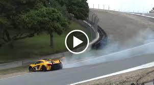 p1 crash near crash u2013 mclaren p1 gtr spins out at laguna seca corkscrew