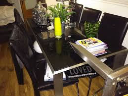 glass chrome dining table black glass u0026 chrome dining table u0026 6 chairs in bathgate west