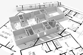 modern house blueprints 3d modern house and blueprints isolated on white stock illustration