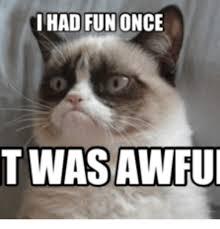 Grumpy Cat Meme I Had Fun Once - i had fun once twas awfu i had fun meme on me me