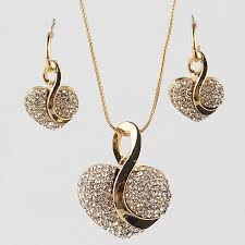new necklace images Romantic love heart jewelry sets for women fashion crystal jpg