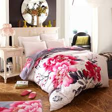 Duvet Set King Size Aliexpress Com Buy 7pc Set Chinese Peony Print Bedding Set King