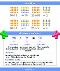 divide division divisor dividend maths dictionary kids