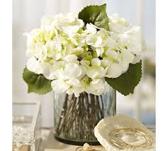 white floral arrangements faux white hydrangea arrangement in glass vase pottery barn