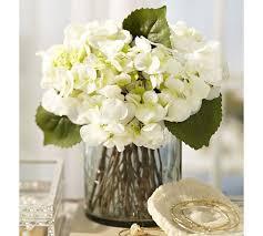 white floral arrangements faux white hydrangea arrangement in glass vase pottery barn
