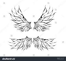 tribal wings tattoo design vector stock vector 116801260