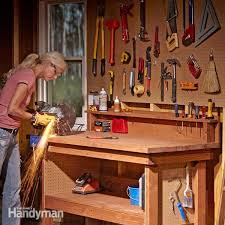 Plans For Building A Wood Workbench by Simple Workbench Plans Family Handyman