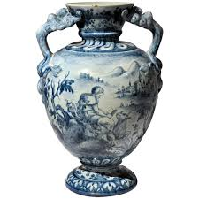 Blue And White Vase French Blue And White Baluster Vase For Sale At 1stdibs