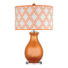 Gourd Table L Tangerine Orange Glass Table L With Lattice Print Shade