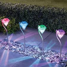 colour changing stainless steel led solar lights garden