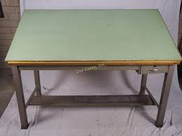 Oak Drafting Table by Vintage Hamilton Metal Drafting Table