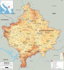 Us Physical Map Kosovo Physical Map The Kosovo News