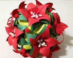 3d origami kusudama poinsettia by 3dorigamiartstudio on etsy 3d