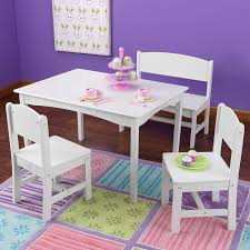 kidkraft nantucket 4 piece table bench and chairs set shop kidkraft nantucket white rectangular kid s play table with