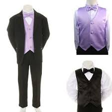 new baby boy formal wedding black suit tuxedo lilac vest